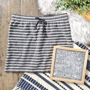 LOFT jogger knit skirt gray stripe drawstring mini